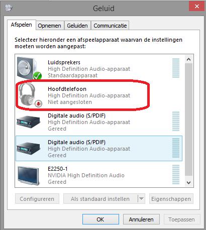 Koptelefoon werkt niet geluid blijft uit laptop komen